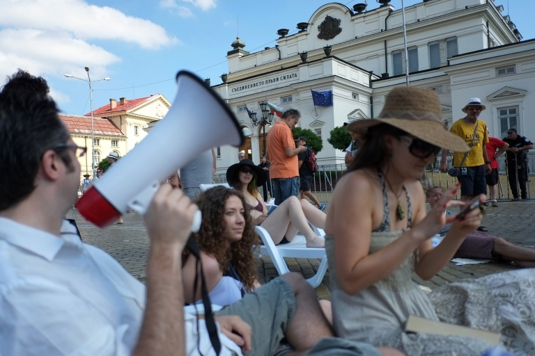 <p>Protesters in front of parliament. One survey found 72 percent of Bulgarians find the situation in their country