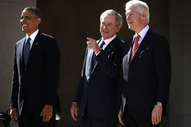 <p>US President Barack Obama, former President George W. Bush, and former President Bill Clinton attend the opening ceremony of the George W. Bush Presidential Center April 25, 2013 in Dallas, Texas.</p>
