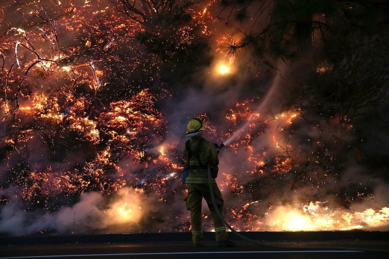 <p>A firefighter uses a hose to douse the flames of the Rim Fire on Aug. 24, 2013 near Groveland, California.</p>