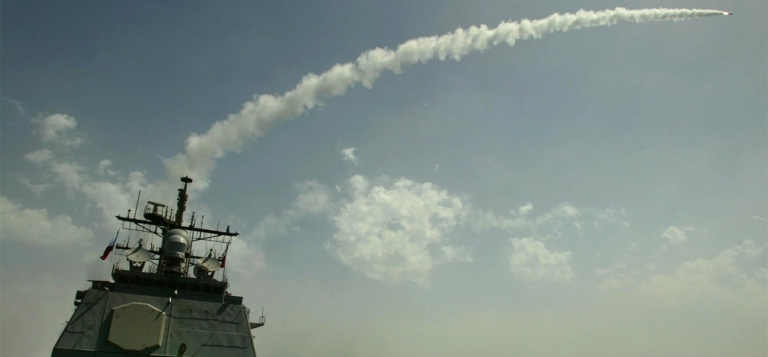 <p>A Tomahawk cruise missile launches from the USS San Jacinto.</p>