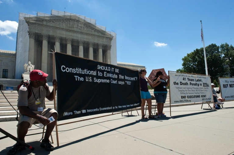 <p>The 20th annual Starvin' for Justice fast and vigil against the death penalty in front of the US Supreme Court in Washington on June 29, 2013.</p>