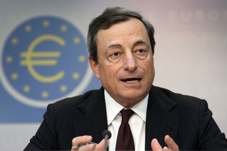 <p>Mario Draghi, President of the European Central Bank, ECB addresses a press conference following the meeting of the Governing Council in Frankfurt am Main, central Germany, on July 4, 2013.</p>