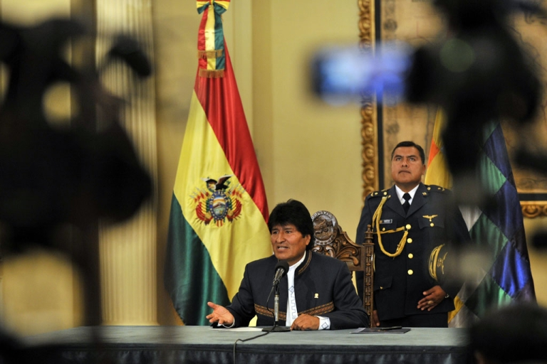 <p>Bolivian President Evo Morales speaks to reporters in La Paz on Aug. 28, 2013, about Sen. Roger Pinto and said that now he is a fugitive of the Bolivian justice.</p>