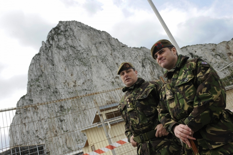 <p>British Royal Navy soldiers stand on guard during Britain's Princess Anne's visit to Gibraltar on March 5, 2009.</p>
