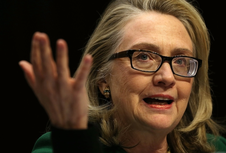 <p>Former US Secretary of State Hillary Clinton testifies before the Senate Foreign Relations Committee about the Sept. 11 attacks against the U.S. mission in Benghazi, Libya, on Jan. 23, 2013 in Washington, DC.</p>