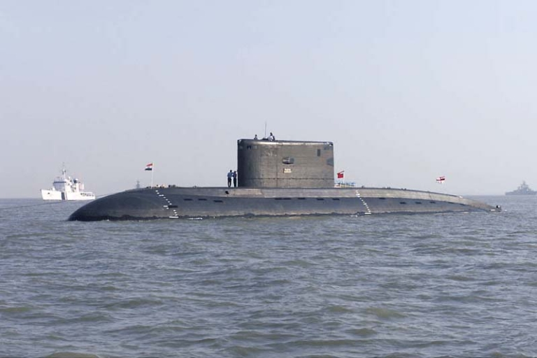 <p>The Indian Navy submarine INS Sindhurakshak (S 63) at anchorage off the port city of Mumbai, India</p>