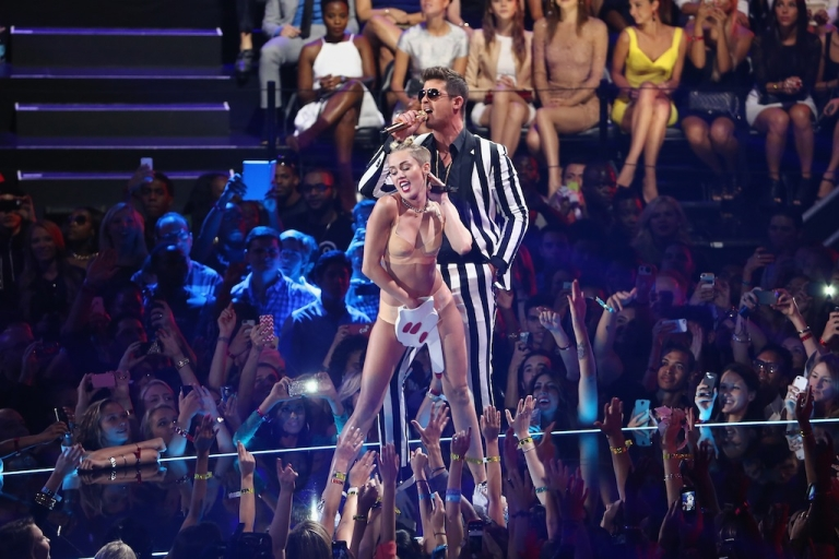 <p>Oh, Miley. The pop star Miley Cyrus gave singer Robin Thicke a personal lap dance onstage during a performance at the 2013 MTV Video Music Awards at the Barclays Center on August 25, 2013 in Brooklyn, NY.</p>