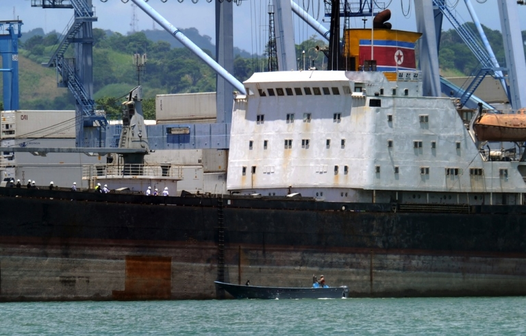 <p>View of the North Korean vessel Chong Chon Gang at Manzanillo harbour in Colon, 90 km from Panama City, on Aug. 14, 2013.</p>
