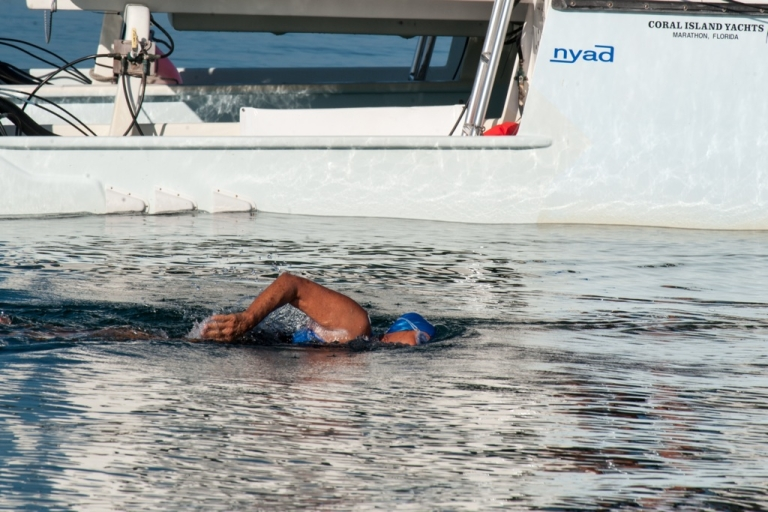 <p>US swimmer Diana Nyad begins her attempt to swim in a three-day non-stop journey from Havana to Florida on Aug. 31, 2013.</p>