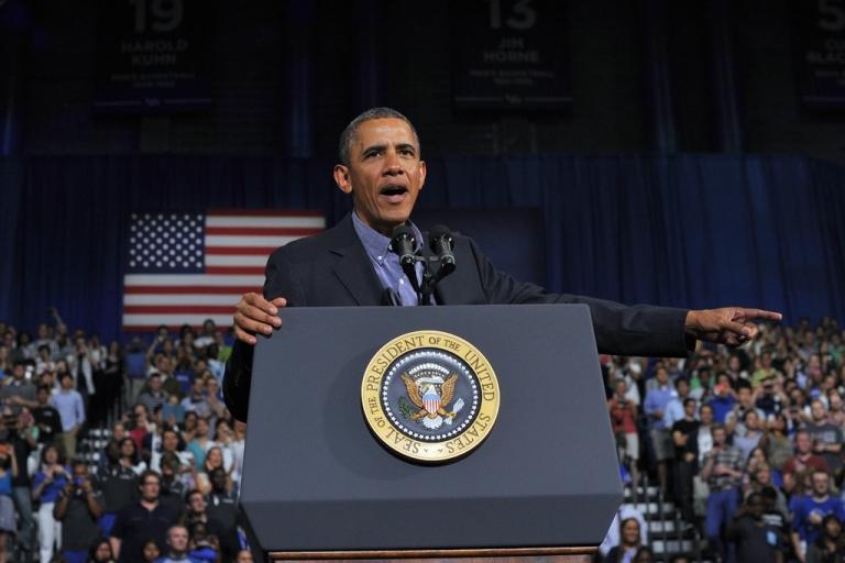 <p>US President Barack Obama speaks on education at SUNY Buffalo in Buffalo, NY, on Aug. 22, 2013.</p>
