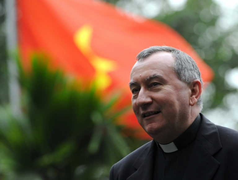 <p>Archbishop Pietro Parolin arrives at Hanoi's museum of ethnology on February 19, 2009. Pope Francis appointed Parolin the Vatican's Secretary of State on August 30, 2013.</p>