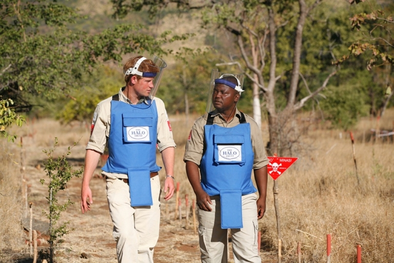 <p>Prince Harry talks to a de-miner from the HALO Trust in Cahora Bassa, Mozambique, on June 21, 2010.</p>