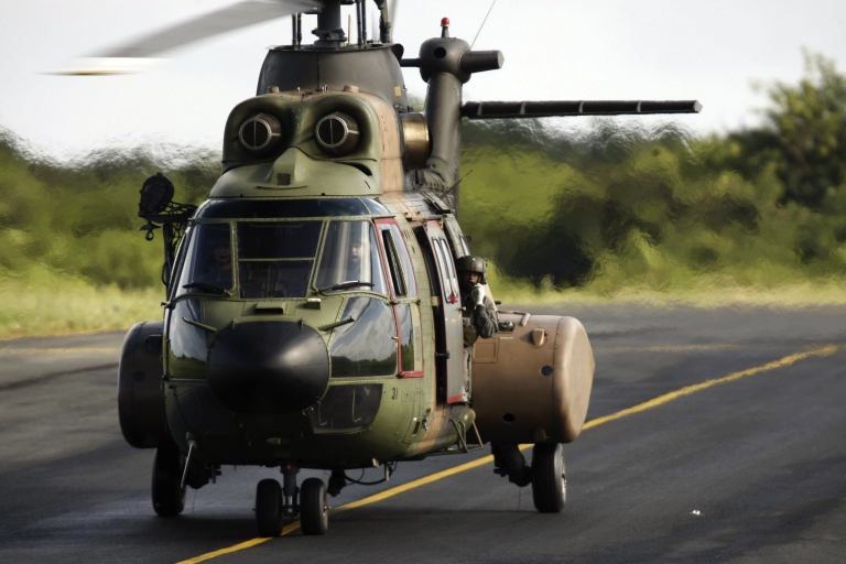 <p>A Brazilian Air Force Super Puma helicopter lands upon arrival at the Fernando de Noronha airport on June 11, 2009. A Super Puma helicopter carrying oil rig workers crashed in the North Sea off Scotland on Aug. 23, 2013, killing four people.</p>