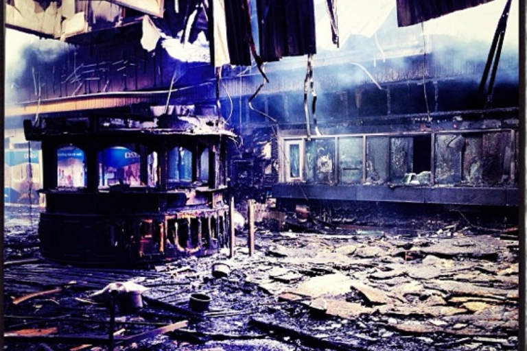<p>This Instagram image shows the smoking ruins of the arrivals hall in Nairobi's main Jomo Kenyatta International Airport, gutted by fire on Aug. 7, 2013.</p>