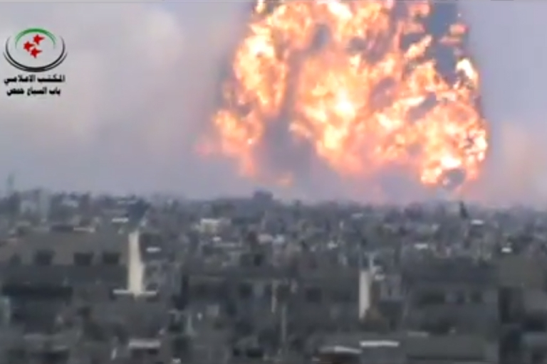 <p>A massive fireball billowed into the sky in the Syrian city of Homs in a video posted by opposition activists on August 1, 2013.</p>