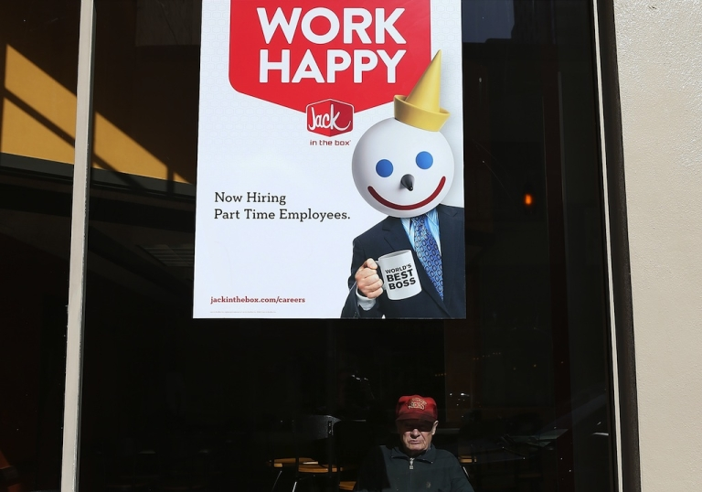 <p>A sign advertising jobs is posted in the window of a Jack in the Box restaurant on February 7, 2013 in San Francisco, California.</p>