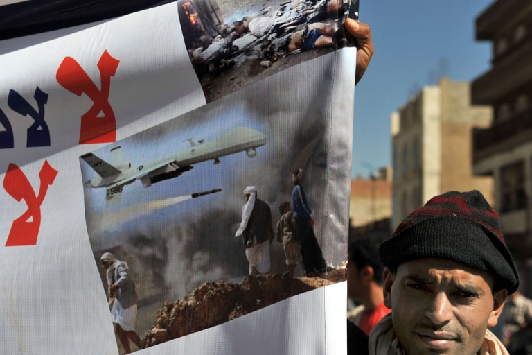 <p>A Yemeni protests US drone attacks in the capital Sanaa, on Jan. 28, 2013.</p>