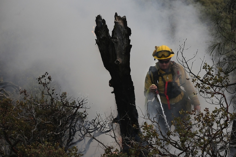 <p>YOSEMITE NATIONAL PARK, CA - AUGUST 24:  Firefighters douse a spot fire as they battle the Rim Fire on August 24, 2013 in Yosemite National Park, California. The Rim Fire continues to burn out of control and threatens 4,500 homes outside of Yosemite National Park. Over 2,000 firefighters are battling the blaze that has entered a section of Yosemite National Park and is currently 5 percent contained.</p>