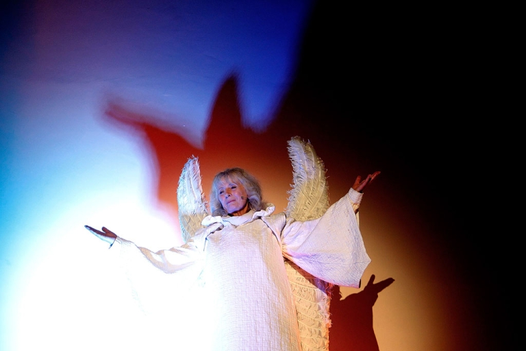 <p>Angel Gabriel, played by Kathy Longbottom, appears to Mary during a living Nativity performance on December 19, 2013 in London, England.</p>
