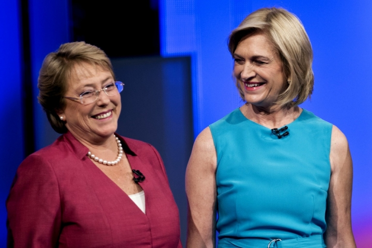 <p>Chilean presidential candidates Michelle Bachelet, left, a moderate socialist, and conservative Evelyn Matthei.</p>