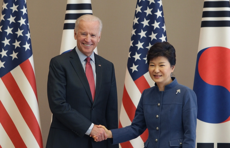 <p>Vice President Biden shakes hands with South Korean President Park Geun-Hye on December 6, 2013 in Seoul, South Korea.</p>