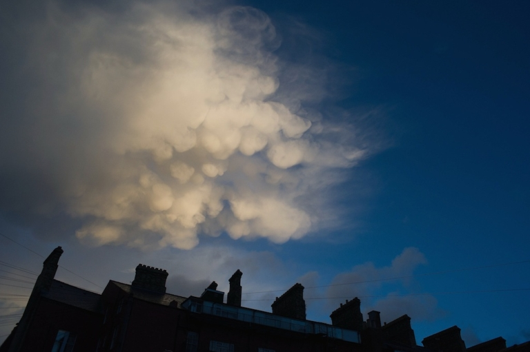 <p>Unusual cloud formations appear over houses on October 27, 2013 in Saltburn, United Kingdom.</p>