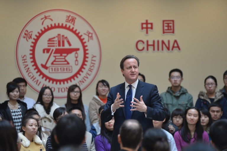 <p>British Prime Minister David Cameron speaks to students at Shanghai Jiaotong University on December 3, 2013 in Shanghai, China. David Cameron is on a three-day visit to China.</p>