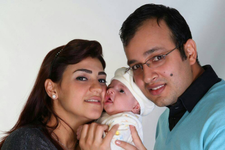 <p>Nidal Darwish and Kholoud Succariyeh, the first Lebanese couple to marry under civil law with their son, Ghaddi.</p>