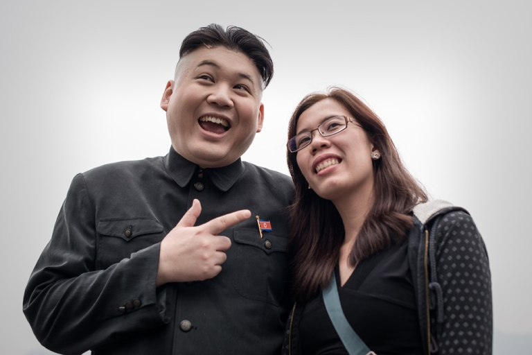 <p>Howard (left) is considered the world's first professional Kim Jong Un impersonator.</p>