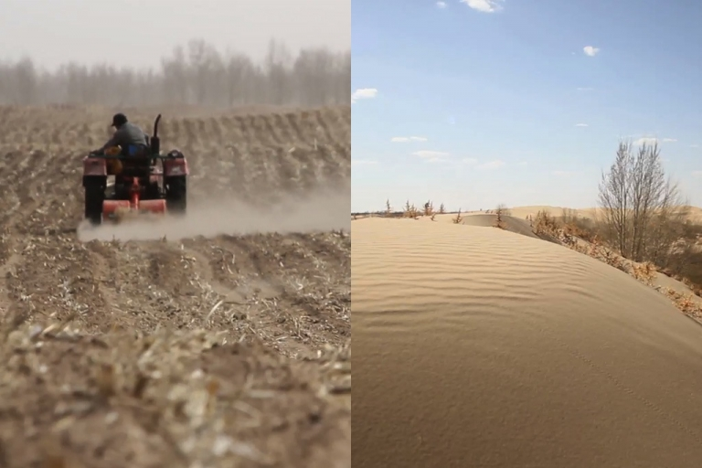 <p>In Inner Mongolia, the desert has expanded by hundreds of miles in recent decades, in part due to climate change. Chinese farmers — pictured here in Kulun Qi, near Naiman, Inner Mongolia, about 400 miles from Beijing — are watching their fields turn to desert.</p>