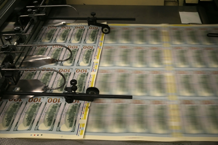 <p>New $100 bills are printed at the Bureau of Engraving and Printing.</p>