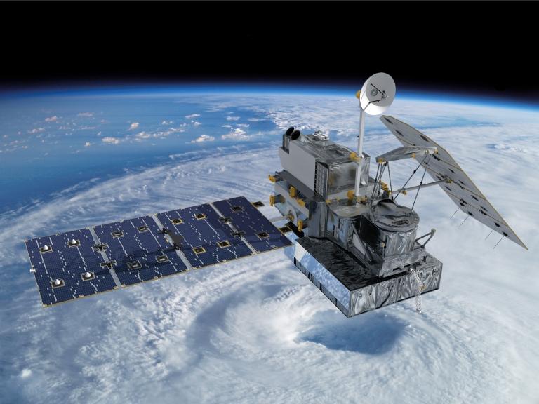 <p>Artist concept of the Global Precipitation Measurement (GPM) Core Observatory satellite.</p>