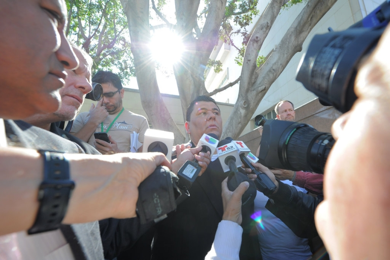 <p>Michael Duran, who received nearly one million dollars in a sex abuse settlement with the Roman Catholic Archdiocese of Los Angeles, speaks during a news conference on March 14, 2013 in Los Angeles, California.</p>