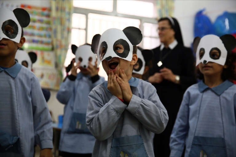 <p>Students at Beirut's Our Lady of Peace School and Convent get ready to celebrate Saint Barbara's Day on Dec. 3, 2013.</p>