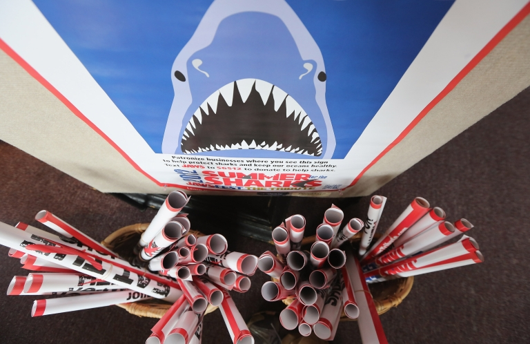 <p>Posters are seen during JawsFest: The Tribute, a festival celebrating the film Jaws, on the island of Martha's Vineyard on August 11, 2012 in Oak Bluffs, Massachusetts.</p>