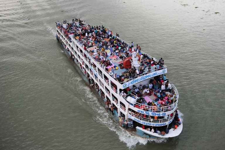 <p>Thousands of Bangladeshis cram ferries, as they rush home to be with their families in remote villages before the Muslim Eid festival, at Sadarghat ferry terminal on the outskirts of Dhaka on August 16, 2012.</p>