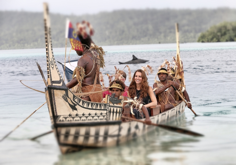 <p>Catherine, Duchess of Cambridge and Prince William, Duke of Cambridge travel in a traditional canoe during a visit to Tuvanipupu Island on their Diamond Jubilee tour of the Far East on September 17, 2012 in Honiara, Guadalcanal Island in the Solomon Islands.</p>