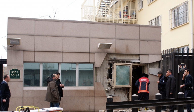 <p>A suicide bomb attack outside the gate of the US Embassy in Ankara has killed two on Feb. 1, 2013.</p>