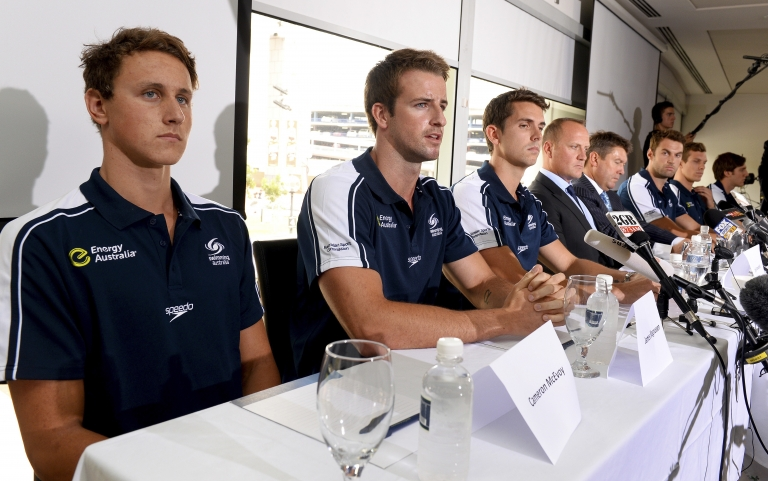 <p>Australian swimmer James Magnussen (2nd L), Eamon Sullivan (3rd L), Cameron McEvoy (L) and members of Australia's much-hyped men's Olympic swim relay team, dubbed the 'Weapons of Mass Destruction', speak to the media after owning up to taking part in 'stupid' pre-Games pranks, in Sydney on February 22, 2013.</p>