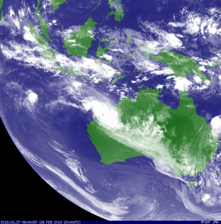 <p>In this Handout Image provided by the Japan Meteorological Agency, Tropical Cyclone Rusty is recorded by the MTSAT Satellite nearing the Western Australian coastline, on February 27, 2013.</p>
