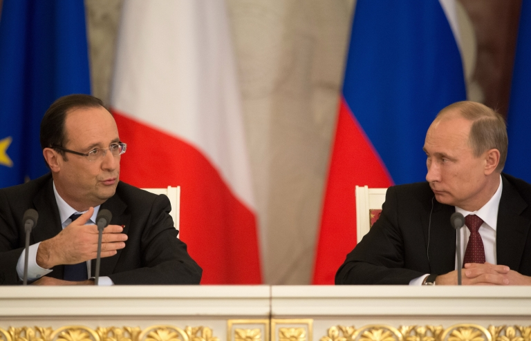 <p>French President Francois Hollande met with Vladimir Putin on Thursday to discuss the Syrian conflict. Both sides said progress had been made.</p>