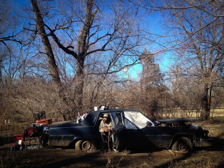<p>John Todd, one of Topeka's many homeless, lives in his car in the backyard of his mother's house.</p>