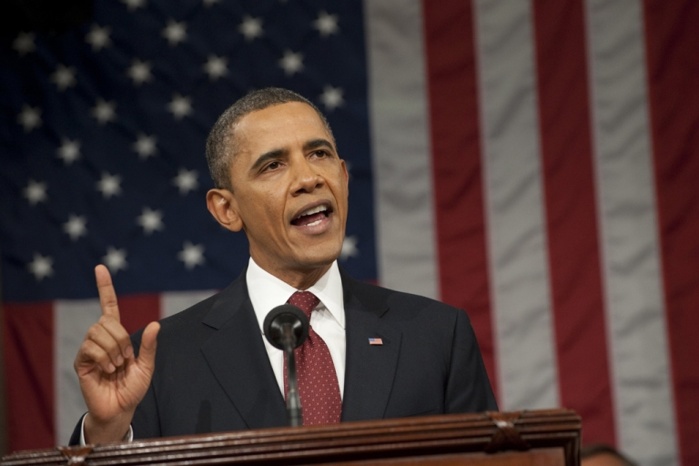<p>US President Barack Obama delivers his State of the Union address before a joint session of Congress on Capitol Hill on January 24, 2012 in Washington, DC.The president called economic inequality