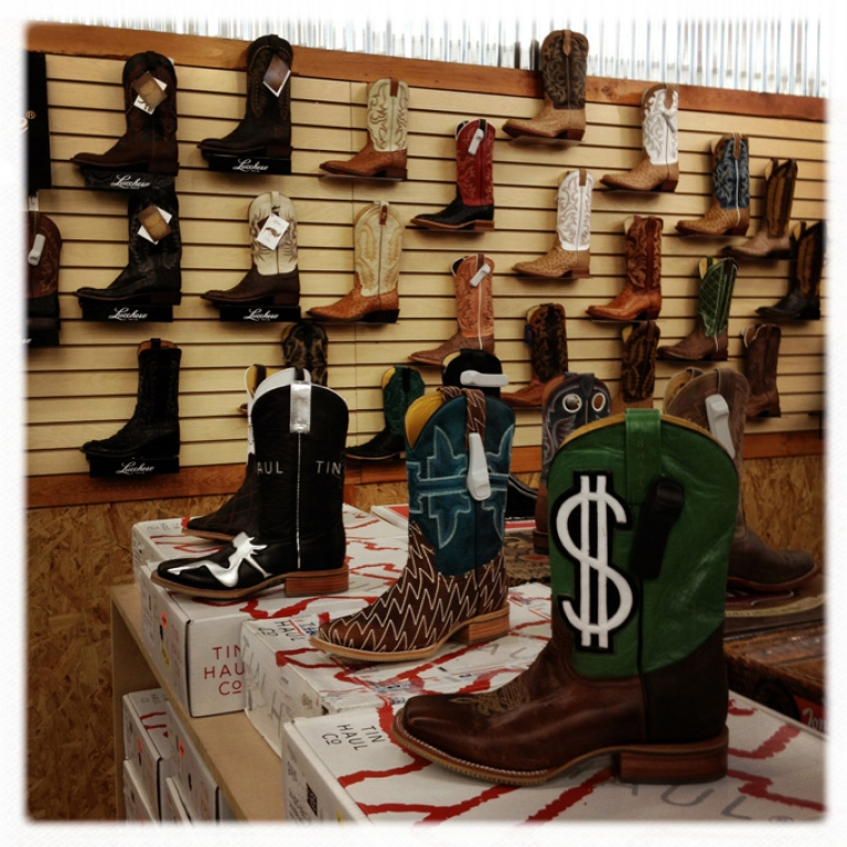 <p>Custom-designed cowboy boots made with alligator and ostrich leather, retailing between $400-500, on sale in a boot store in Midland, Texas. An oil boom in the Permian Basin has turned Midland into the second wealthiest metropolitan area in the nation, based on personal incomes.</p>