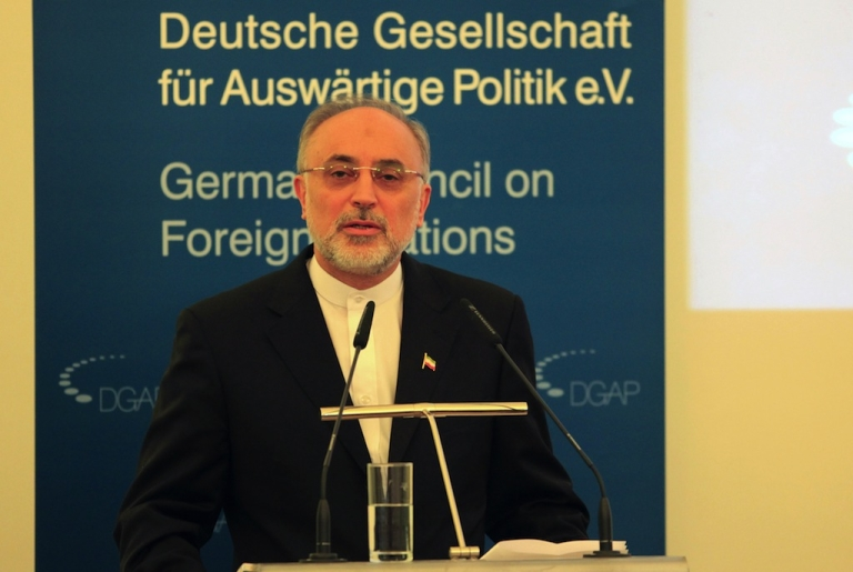 <p>Iranian Foreign Minister Ali Akbar Salehi gives a speech at the German Society for Foreign Policy (DGAP) on Feb. 4, 2013 in Berlin.</p>
