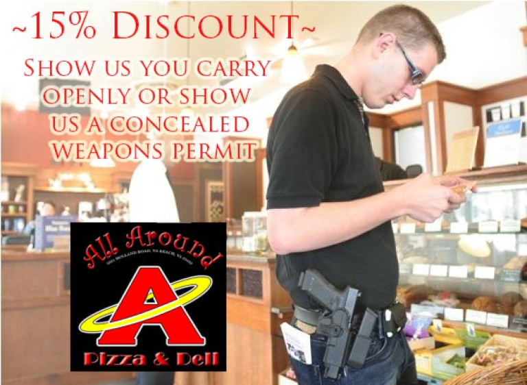 <p>A pizza restaurant owner in Virginia offers customers who bring in guns 15 percent off their bill.</p>