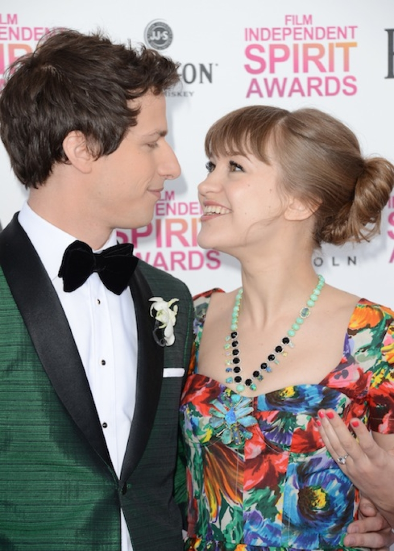 <p>SANTA MONICA, CA - FEBRUARY 23: (L-R) Host Andy Samberg and musician Joanna Newsom attend the 2013 Film Independent Spirit Awards at Santa Monica Beach on February 23, 2013 in Santa Monica, California.</p>