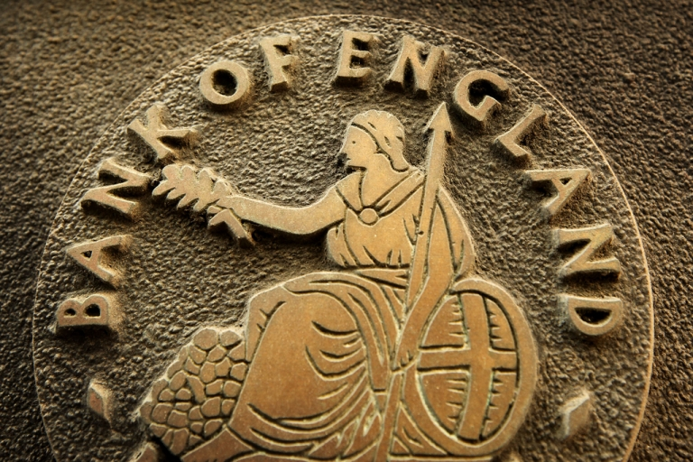 <p>A Bank of England sign is displayed outside The Bank on Jan. 8, 2009 in London, England.</p>