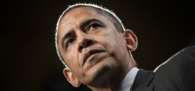 <p>US President Barack Obama pauses while speaking during the House Democratic Issues Conference at the Lansdowne Resort Feb. 7 in Lansdowne, Virginia.</p>