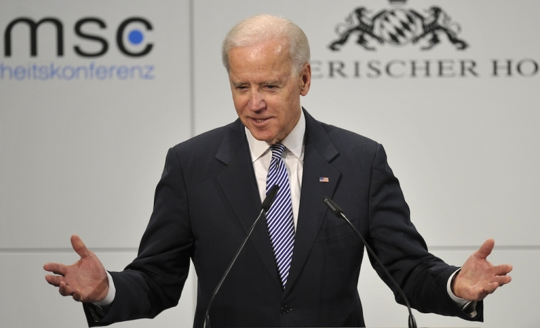 <p>US Vice President Joe Biden delivers a speech at the Munich Security Conference on February 2, 2013 in Munich, southern Germany as world leaders, ministers and top military gather for talks with the spotlight on Syria, Mali and Iran.</p>